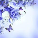 Mazzo delle rose e della farfalla rosa Fotografia Stock