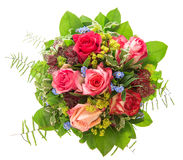 Mazzo delle rose isolato su priorità bassa bianca fiore rosa e rosso Fotografie Stock Libere da Diritti