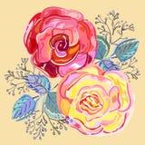 Mazzo delle rose rosa-rosso della pesca piccolo illustrazione vettoriale