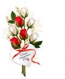 mazzo delle rose rosse e bianche Fotografia Stock Libera da Diritti