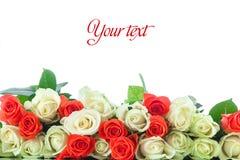 Mazzo delle rose rosse e gialle Fotografia Stock Libera da Diritti