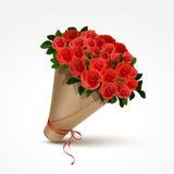 Mazzo delle rose rosse isolate Fotografie Stock