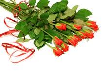 mazzo delle rose rosse su bianco Immagine Stock