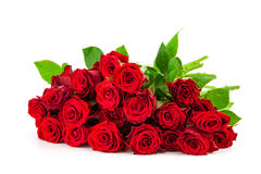 Mazzo delle rose rosse su un fondo bianco Fotografie Stock Libere da Diritti