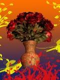 Mazzo delle rose rosse in vaso su fondo variopinto Immagine Stock