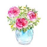 Mazzo delle rose in un vaso Carta floreale dell'acquerello Immagini Stock Libere da Diritti