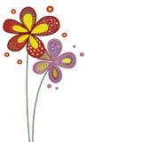 Mazzo dello scarabocchio rosso e porpora dei fiori Immagini Stock Libere da Diritti
