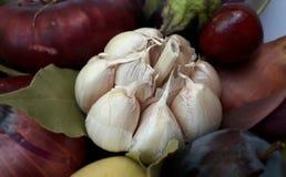 Mazzo di aglio Mazzo di verdure Primo piano Immagine Stock