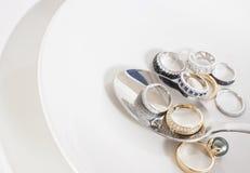 Mazzo di anelli e di cucchiaio Immagini Stock