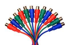 Mazzo di audio video connettori e cavi verde blu rossi di RCA Immagine Stock