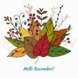 Mazzo di autunno di scarabocchio di vettore con le foglie illustrazione di stock
