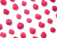 Mazzo di bacche organiche fresche del lampone nel modello senza cuciture dell'ornamento, fondo bianco Concetto pulito di cibo Nut Fotografia Stock Libera da Diritti