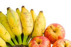 Mazzo di banana e di mele coltivate Fotografie Stock Libere da Diritti