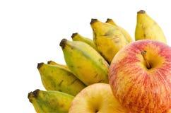Mazzo di banana e di mele coltivate Fotografia Stock Libera da Diritti
