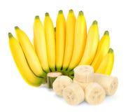 Mazzo di banana isolato sui precedenti bianchi Immagini Stock Libere da Diritti