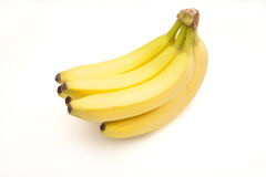 Mazzo di banane isolate su bianco Fotografie Stock Libere da Diritti