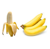Mazzo di banane isolate su priorità bassa bianca Immagini Stock Libere da Diritti