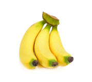 Mazzo di banane isolate su priorità bassa bianca Immagini Stock