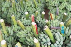 Mazzo di banane mature nel mercato Fotografie Stock Libere da Diritti