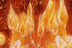 Mazzo di candele brucianti con le linee ornamentali, dettaglio della pittura Fotografie Stock