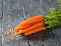 Mazzo di carote mature fresche su una tavola di legno scura Posto per testo Fotografia Stock Libera da Diritti