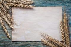 Mazzo di carta d'annata in bianco dello strato delle orecchie della segale del grano sul bordo di legno Immagini Stock
