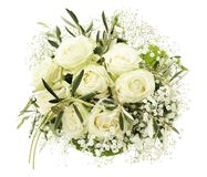 Mazzo di cerimonia nuziale delle rose bianche Immagini Stock Libere da Diritti