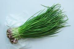 Mazzo di cipolle verdi con la erba cipollina Fotografia Stock Libera da Diritti