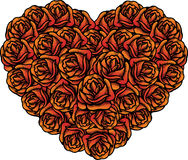 Mazzo di figura del cuore di rose per i biglietti di S. Valentino illustrazione vettoriale
