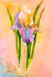 Mazzo di fiori dell'iride su fondo rosa royalty illustrazione gratis