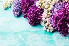 Mazzo di fiori lilla Vista superiore Copi lo spazio Fotografia Stock