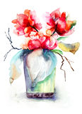 Mazzo di fiori rossi della peonia Immagini Stock Libere da Diritti