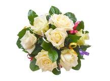 Mazzo di fiori su priorità bassa bianca Fotografia Stock Libera da Diritti