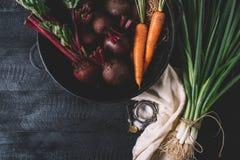 Mazzo di giovani cipolle verdi, barbabietole, carote e basilico su un fondo nero di vecchia annata dei bordi di legno, verdura fr fotografie stock