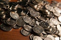 Mazzo di monete delle rubli russe Immagine Stock Libera da Diritti