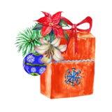Mazzo di Natale dell'acquerello con il regalo illustrazione per il disegno illustrazione di stock