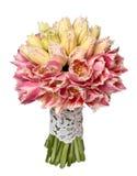 Mazzo di nozze dei tulipani gialli e rosa Immagini Stock Libere da Diritti