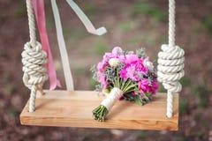 Mazzo di nozze delle peonie rosa Immagini Stock