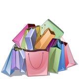 Mazzo di pacchetti del negozio immagine stock libera da diritti