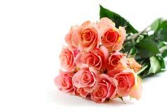 Mazzo di rosa di colore rosa su bianco fotografie stock
