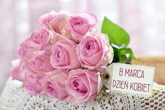 Mazzo di rose rosa per il giorno delle donne in Polonia Fotografia Stock