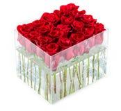 Mazzo di rose rosse in contenitore sopra bianco Fotografie Stock Libere da Diritti