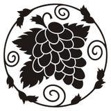 Mazzo di siluetta dell'uva Immagine Stock Libera da Diritti