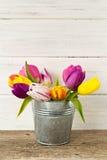 Mazzo di tulipani variopinti in un vaso per una cartolina d'auguri Fotografia Stock Libera da Diritti
