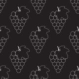 Mazzo di uva con l'icona di vettore della siluetta della foglia per i apps ed i siti Web dell'alimento Reticolo senza giunte dell illustrazione di stock