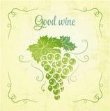 Mazzo di uva per il vino dell'etichetta Fotografie Stock Libere da Diritti