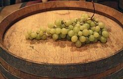Mazzo di uva sul barilotto Immagine Stock Libera da Diritti