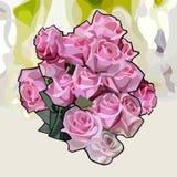 Mazzo dipinto delle rose rosa su un fondo astratto fotografie stock