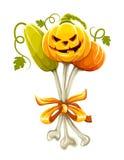 Mazzo divertente fatto delle zucche di Halloween sulle ossa Immagini Stock Libere da Diritti