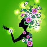 Mazzo e petali adulti di manifestazioni di fiori dei capelli royalty illustrazione gratis